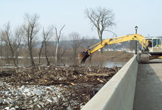 Mankato district, clearing log jam from a bridge