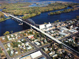 Aerial view of Wabasha bridge