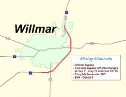 Map of Willmar bypass