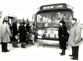 People boarding bus (b&w)