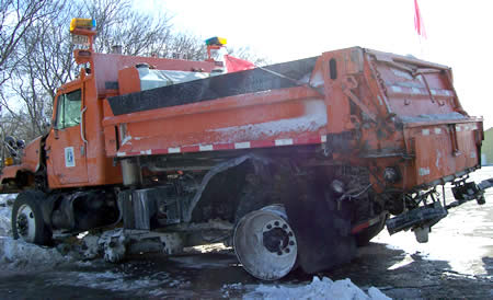 Damaged snowplow