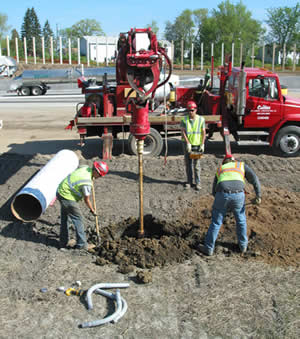 Digging holes for light poles