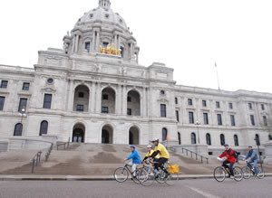 Bicyclists in front of state capitol