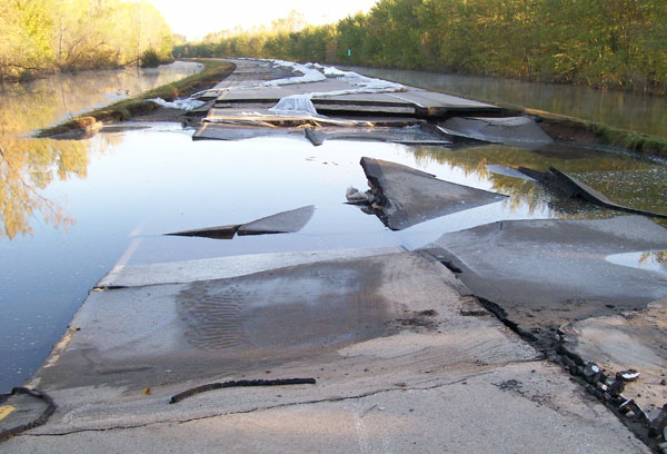 Flood damaged section of Hwy 169