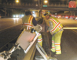 Photo of crew working at night on I-94.