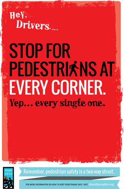 Graphic of pedestrian safety campaign.