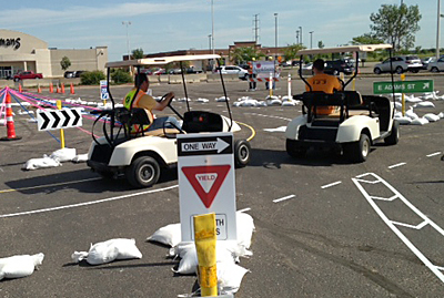 Photo of roundabout course using golf carts.