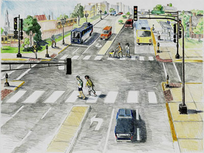 Artist rendering of the finished Snelling Avenue/Hwy 51 and Hewitt Avenue intersection
