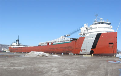 The John G. Munson freight ship docked in winter