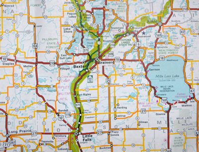 Photo of part of the Minnesota Bicycle Map.