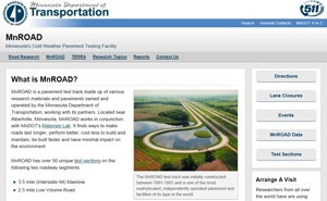 Screen shot of the MnROAD website.