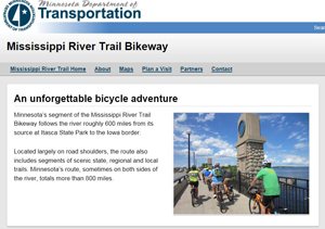 Screen shot of Mississippi River Trail web page.