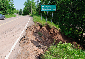 Photo of road washout near Duluth.