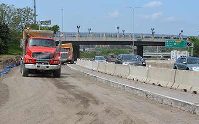 Photo of crews working on I-94 near Mounds Boulevard in St. Paul.