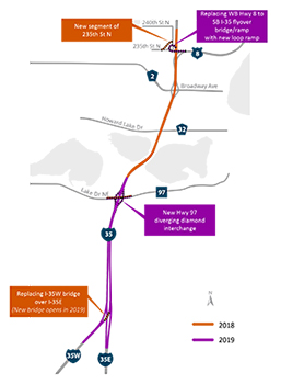 Map of I35 north metro split project.