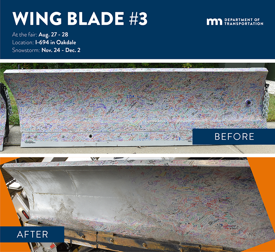 Two photos of the same snowplow wingblade. One shows the blade covered with signatures, and the other, showing the blade after use, shows that more than half the signatures have been worn away by snow