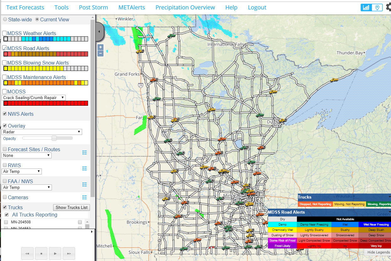This screenshot shows a large map of Minnesota, with data indicators superimposed over various locations
