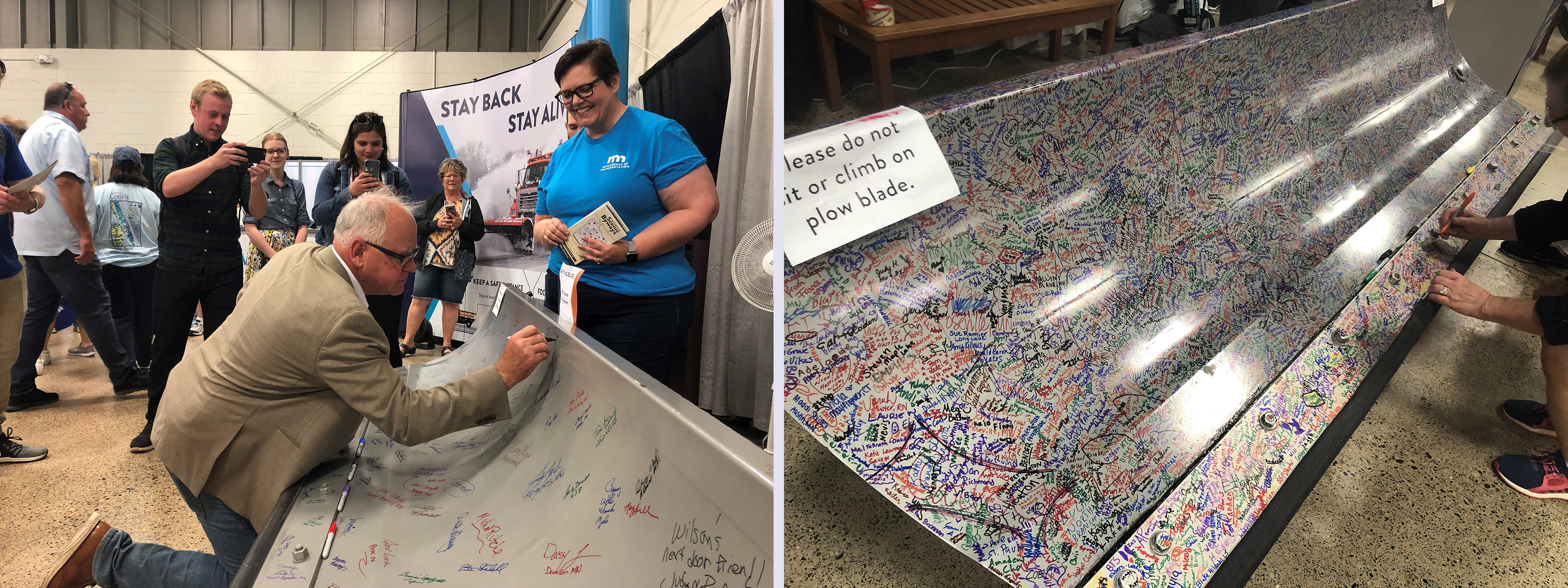 At left, Gov. Tim Walz signs the plow blade at the Minnesota State Fair, at right, a close-up photo of the hundreds of signatures, in different colors, left on a different blade.
