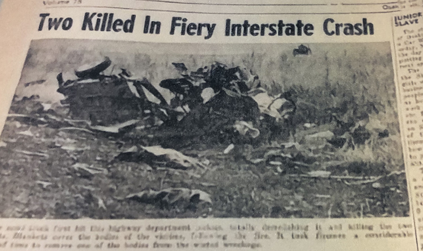 Photo: an old newspaper. The main headline says two killed in fiery interstate crash