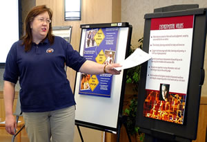 Woman describing info displays
