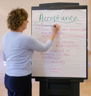 Woman writing on flip chart