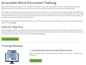 Screen capture of accessibile Word document training website.