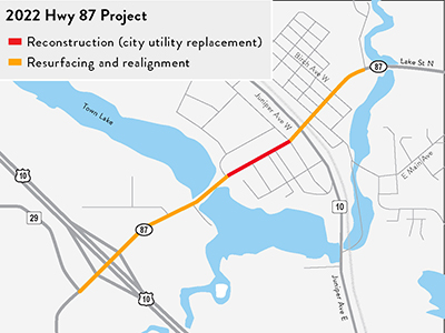 Map of Hwy 87 project.