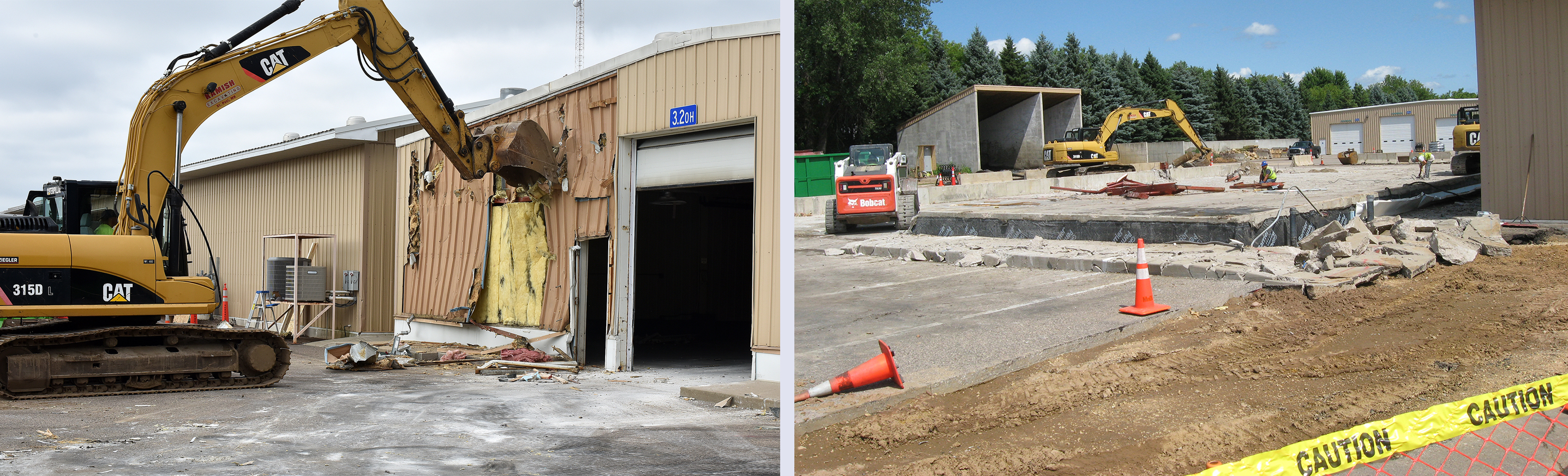 Two pictures - the one on the left shows an excavator beginning the process of tearing the old sign shop building down, and the one on the right shows the empty site after the demolition was complete