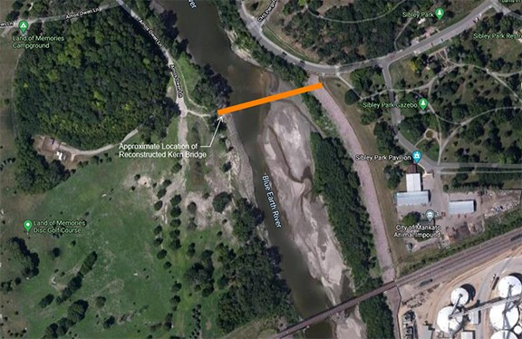 Photo: map showing new location of historic Kern Bridge
